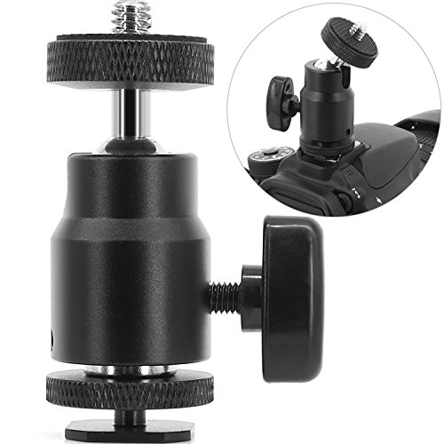 """1/4"""" Hot Shoe Adapter Mount Camera Ball Head Hot Shoe Mount with 1/4"""" Tripod Screw Head for Lightweight Light LCD Monitors Flash Photography Studio Action Camera"""
