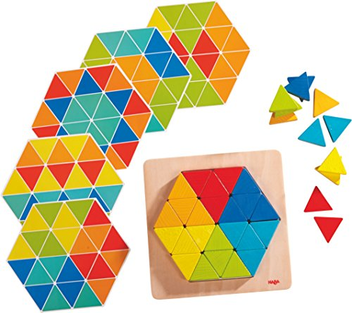 HABA 301703 - Legespiel Zauberdreiecke | Mit 36 Dreicken und 6 doppelseitig bedruckten Vorlagenblättern | Fördert Kreativität und Feinmotorik