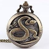 J-Love Collar de Reloj de Bolsillo de Cuarzo Hueco de Serpiente de Bronce Colgante Mujeres Hombres Regalos