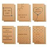 Belle Vous Braune Kleine Notizbücher A6 Liniert (12er Pack) 10,5 x 14,8 cm Notizblöcke Klein 6 Englische Spruch-Designs - 80 Papierseiten - Positive Botschaften auf Notizblock A6 für Reisen & Büchern
