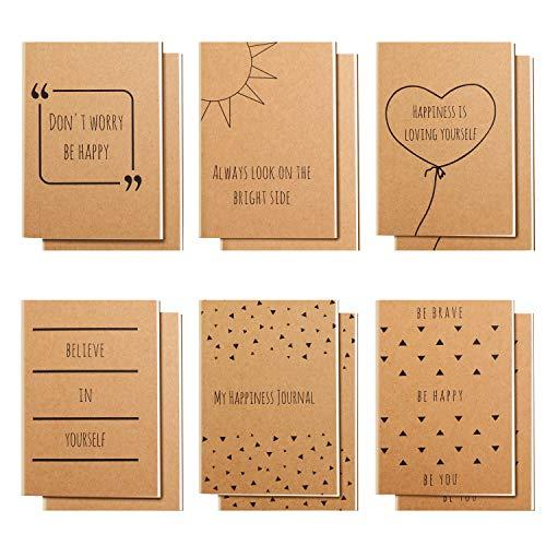 Belle Vous Cuadernos de Notas Pequeño con Líneas Diario/Libreta A6 (Pack de 12) 10,5 x 14,8 cm - 6 Diseños En Ingles - 80 Paginas de Papel - Cuaderno a Rayas Temas Felices para Viajes y Oficina