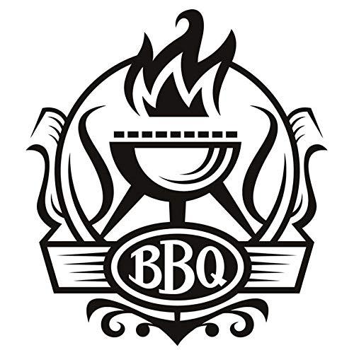 zwyluck Muursticker BBQ Badge Decal Vinyl afneembaar Home Decor Grill met muursticker vuur voor keuken 59 x 64 cm