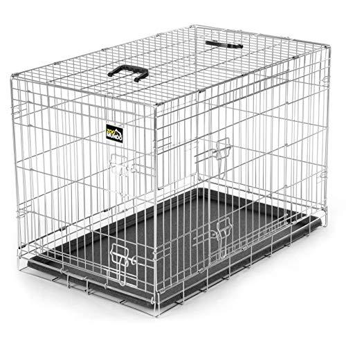 zoomundo L Hundekäfig Transportkäfig Transportbox Tierkäfig Drahtkäfig Faltbarer Käfig aus Metall mit herausnehmbarer Kunststoffwanne