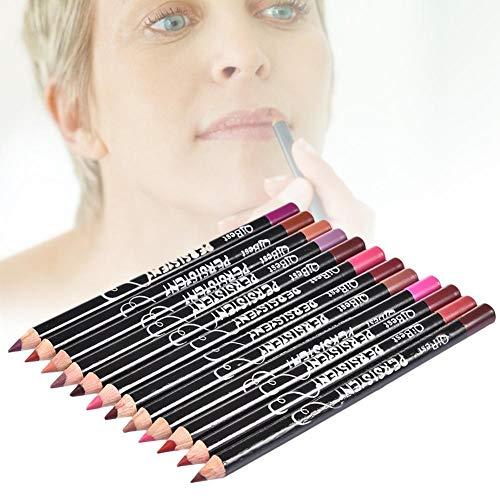 iBàste 12 Couleurs Professionnel Lipliner Maquillage Crayon à lèvres imperméable à l'eau pour Le Quotidien/Voyage/fête/Travail