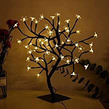 Bonsai Cherry Blossom Tree Light 48 LED Soft Crystal Cherry Flower Black Branches Smart Timer Battery Operated Adjustable for Desk Window Ideal Décor Party Festival Spring Summer Night (warm white)