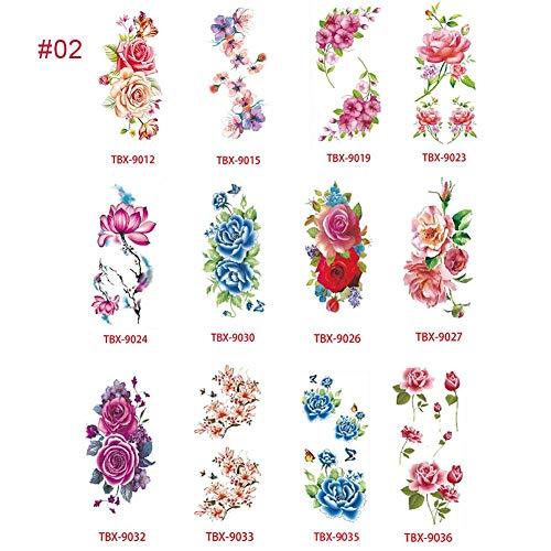 QUUY Etiquetas engomadas de Tatuajes temporales de Flores, Flores de Cerezo de Loto Flash Tattoo Pack de 12 Hojas