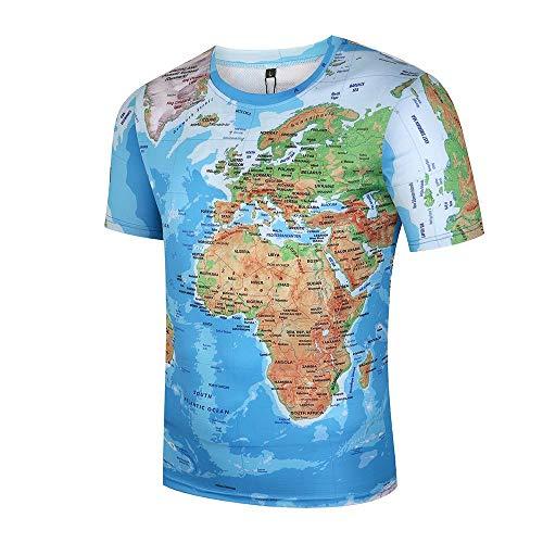 ISAAC ENGLAND Weltkarte-Muster-Kurzschluss-Hülse der Druck-3d im Freien Neuheit Oansatz T-Shirt große Größe 3XL-XXL, FT-0036