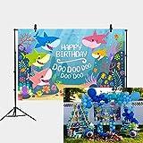Daniu 7x5FT Fondo de la Fiesta de cumpleaños del tiburón del océano Azul Fiesta del tiburón del bebé Banner de tiburón del bebé Telones de Fondo Foto Estudio Accesorios