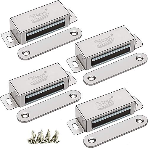 Magnetic Door Latch Jiayi 4 Pack Cabinet Magnet 40 lbs Magnetic Door Catch Hardware Stainless Steel RV Cabinet Latches and Catches for Kitchen Drawer Cupboard Door Closer Closet Door Magnets Closure