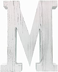 Large Wood Decor Letters Wood Distressed White Letters DIY Block Words Sign Alphabet Free Standing Hanging for Home Bedroom Office Wedding Party (M)
