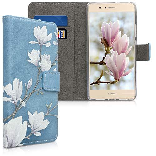 kwmobile Hülle kompatibel mit Huawei P9 Lite - Kunstleder Wallet Case mit Kartenfächern Stand Magnolien Taupe Weiß Blaugrau