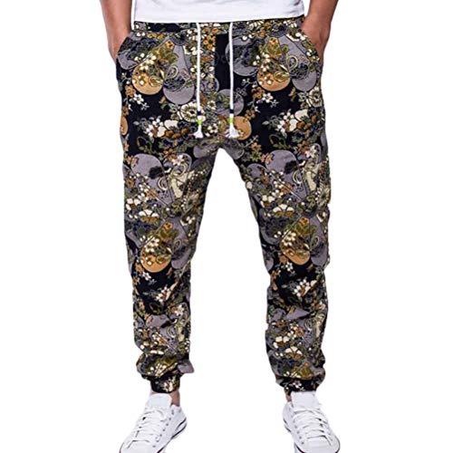 Pantalons pour Hommes Cordons de Serrage Classique Style National Pantalon imprimé Coton Lin avec Poches Casual Pantalon Long
