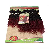 Women's Blond Weft Kinky Curly Hair Bundles 8-14Inch Mixed Length 8Piece/lot Afro Jerry Curl Hair 1Pack Full Head Tangle Free Weave Sew in Hair Extensions (T1B/Burgundy)