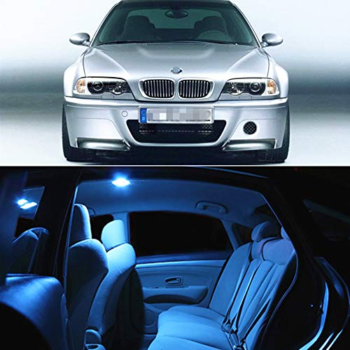 WLJH 17pcs Ice Blue LED Interior Lights Package Kit+ License Plate Light Lamp