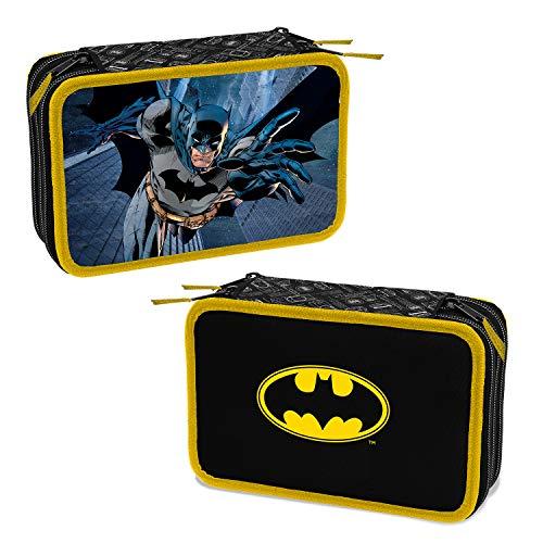 Batman Astuccio Scuola 3 Cerniere Completo di Cancelleria