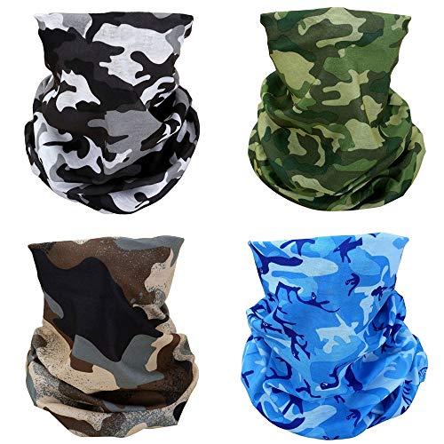 ACBungji 4er Multifunktionstuch Gesichtsmaske Set Motorradmaske Blume Muster Sturmmaske Maskewboard Paintball Fahrrad Bergsteigen Trekking Skateboarden Angeln(Camouflage Set 1)