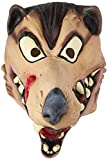 Disguise Men's Hungry Wolf Latex Costume Mask, Brown/Beige/Black/Red, Adult