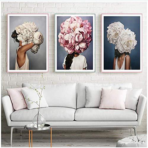 XingChen Obra de Arte en Lienzo 3x50x70cm sin Marco Pluma Flor Mujer Cabeza Lienzo Cartel Nordic Abstract Print Imagen Decorativa Moderna Decoración de la Sala de Estar
