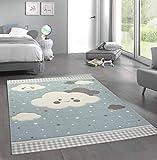 Merinos Alfombra guardería Alfombra Play Nubes Azul Größe 120x170 cm