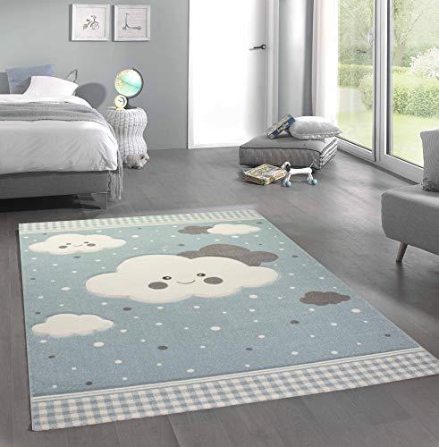 Merinos Teppich für Kinder mit Wolken Spielteppich in Blau Größe 80x150 cm