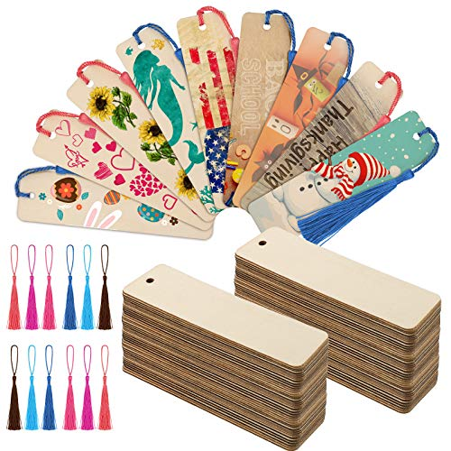 36 Pieces Wood Bookmark Bulk Blank Bookmarks with 36 Pieces 6 Colors Tassels, Wooden Book Markers Rectangle Thin Hanging Tag with Holes for DIY Projects, 4.8 x 1.2 Inch