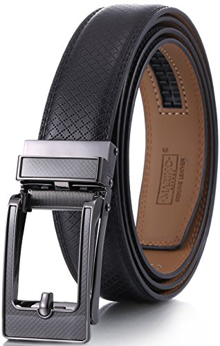 """Mio Marino Mens Genuine Leather Ratchet Dress Belt with Open Linxx Leather Buckle, Enclosed in an Elegant Gift Box - Tanager Linxx - Deep Charcoal - Adjustable from 28"""" to 44"""" Waist"""