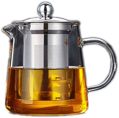 Teapots Teapot Cup Teapot Stainless Steel Glass Filter Household Kettle Heat Resistant Thickening High Temperature Teapot Flower Tea Service Tower Top Pot Simple Fashion (Size : Single teapot 950ml)