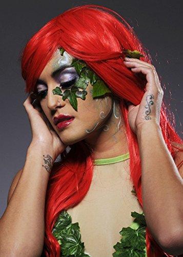Womens longue perruque de Style lumineux rouge Poison Ivy