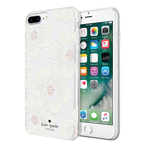 of price on iphone 7 plus dec 2021 theres one clear winner kate spade new york Protective Hardshell Case for iPhone 8 Plus, iPhone 7 Plus, iPhone 6s Plus & iPhone 6 Plus - Hollyhock Floral Clear / Cream with Stones