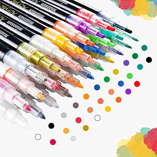 miaosun Acrylstifte Marker Stifte 28 Farben (16pack 0,7mm + 12pack 1-3mm) Wasserfest Acrylstifte für Stein Metall Papier Glas Holz Kunststoff Keramik Leder DIY Fotoalbum Acrylfarben Marker Set