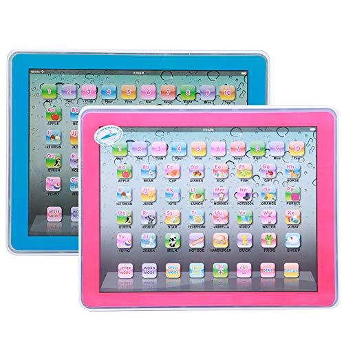 YOUTHINK Kid Tablet Learning Toy Juguete Educativo para Niños Aprendizaje de Inglés Juguete Educativo Desarrollo de la Primera Infancia Juguete para el Aprendizaje de Números (Azul/Rosa)(Azul)