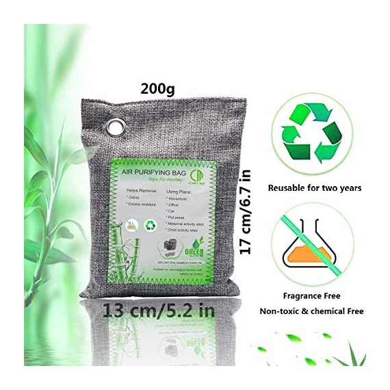 Activated Bamboo Charcoal Bags, Natural Air Purifying Fresheners,Moisture Remove for Home, Car, Closet, Bathroom (8 x… 2 NATURAL AIR PURIFIER-->>100% activated bamboo charcoal contains millions of tiny porous holes that naturally absorb and eliminate odors. This makes bamboo charcoal the perfect natural air freshener and odor remover. SAFE-->>Our activated charcoal air purifier bags are safe and effective, which has no fragrance or chemicals. They can purify your space air in the most natural, 100% safe way! It absorbs moisture and unpleasant odors like a sponge. These natural bamboo charcoal deodorizers are sure to be safe and you can leave it around your pets and your children while no worry for any incidents that might jeopardize their health. WIDE APPLICATIONS-->>The bamboo activated charcoal odor absorber bags has deodorizing and dehumidifying functions and which makes them work efficiently at any time and any place. It can be used in car,gym bag,smelly shoes,pet areas,bedroom,bathroom and fridge. Put the activated charcoal bag in these places, and it can absorb moisture or stink smell quickly and keep air fresh.