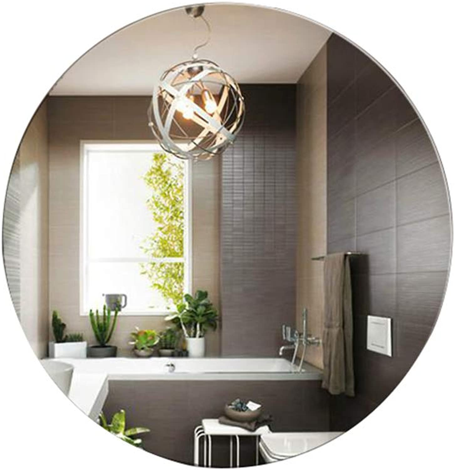 Round Mirror Wall-Mounted Diameter 40 50 60 70cm Frameless Concise Decorative for Bathroom Living Room Glass Dressing Mirror with Hanging Fixings
