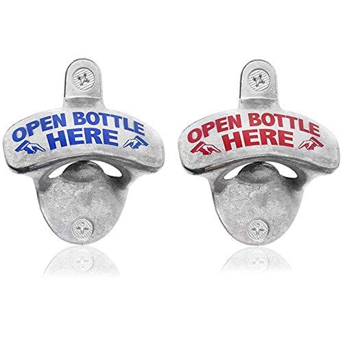 com-four® 2 Wandflaschenöffner aus Metall mit Aufdruck, Bieröffner mit Wandmontage, 8 x 6,5 cm (Open Bottle Here - 02 Stück)