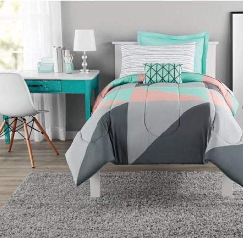 Bed In A Bag Bedding Set and Ottoman Bundle, Twin/Twin XL, Grey & Teal