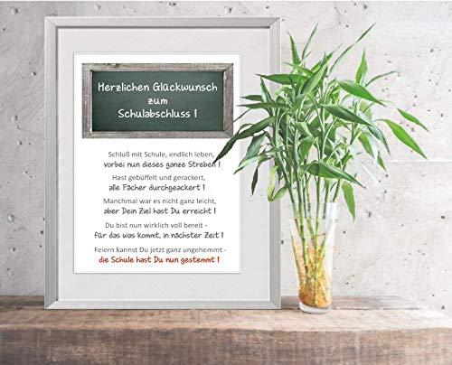 Geschenk zum Schulabschluss - personalisierbar -24x30 cm mit Passepartout -Karte Geschenk Hauptschule Realschule Gymnasium Schule Abschluss Prüfung