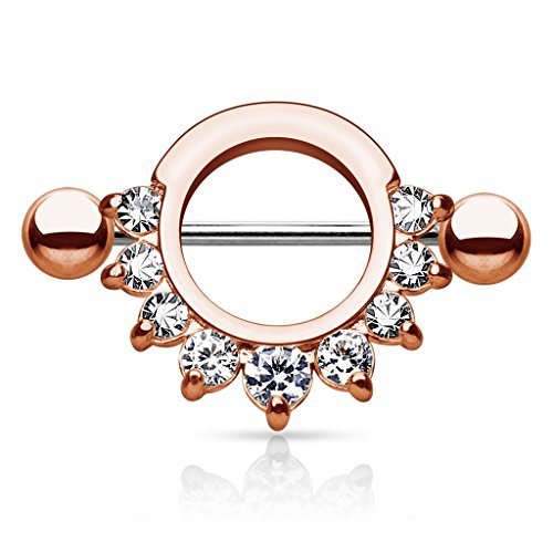 Kultpiercing - Brustwarzen Piercing Ring Nippel-Shield 316L Chirurgenstahl Prong Zirkonia Roségold