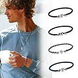 ニューヨーク生まれのアクセサリーブランド、イタリアンレザー MIANSAI(ミアンサイ)メンズ ワークアウト ジャスティン・ビーバー Nexus Leather Bracelet アクセサリー ブレスレット (S, Light Navy)