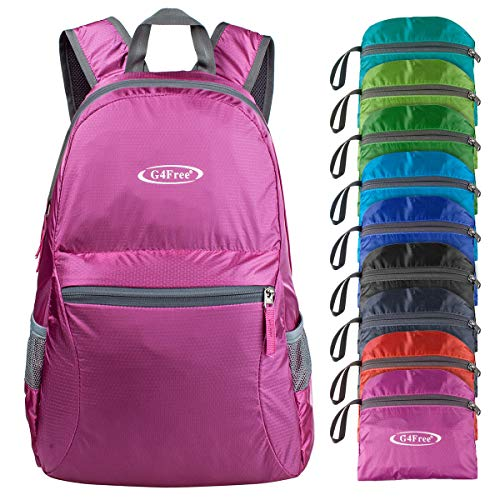 G4Free 20L Ultra Lightweight Packable Backpack Travel Hiking Daypack Handy Foldable (Pink)