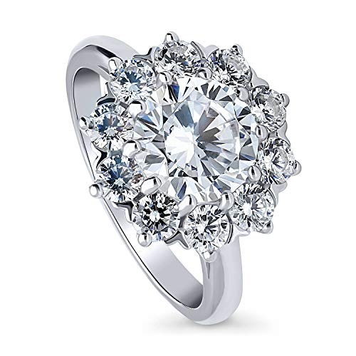 BERRICLE Rhodium Plated Sterling Silver Round Cubic Zirconia CZ Statement Flower Halo Wedding Engagement Ring 3.1 CTW Size 6