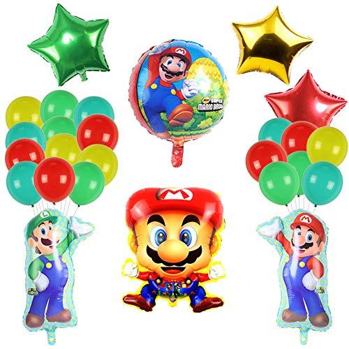 smileh Decoracion Cumpleaños Super Mario Globos Mario Aluminio Globo para niños Decoraciones de Fiesta Mario Bros
