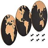 Navaris 3x Kork Pinnwand Korkwand Set - Weltkarte rund Pinboard Korkplatte Tafel - Pinwand 3 World...