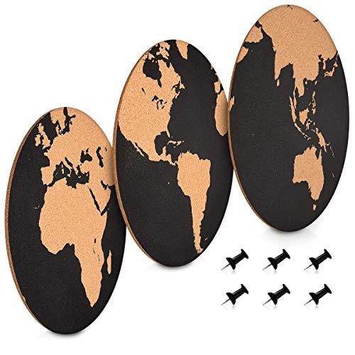 Navaris Corchos para pared - 3x Mapamundi de corcho pared - 3x Pizarra de corcho redondo con mapa del mundo - Tableros con chinchetas