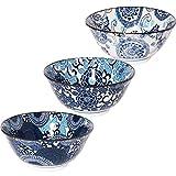 みのる陶器 美濃焼 紺青 4.8寸多用丼 3柄セット (大輪菊 冬牡丹 風車) φ14.9×H6.9cm
