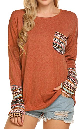 POGTMM Sexy Long Sleeve Tops for Women Holiday (L, Z# Orange)