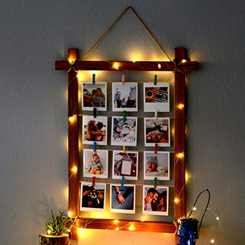 Natural Looking Wooden Photo Frame With Led Light And Latch – Photo Frame Multiple Photos - Picture Frames For Wall Decor And Home Decor - Photo Collage Frames For Wall