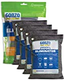 Gonzo Bamboo Charcoal (4 Medium Bags 250 Grams) Air Purifying Bags Odor Eliminatorfor Home Drawers Gym Bag Pets