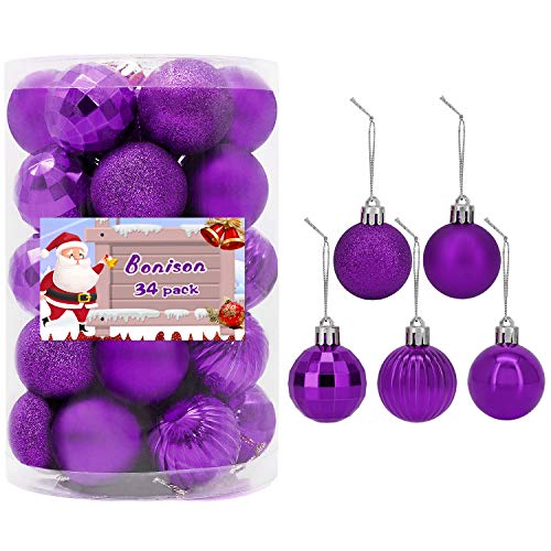 34 PC Christmas 1.5' Ball Ornaments. 5 Assorted Style, Small Shatterproof Xmas Decorations for Christmas Tree, Home Holiday, Wedding Party. Tree Ornaments with Hooks Included. (Purple)