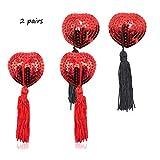 Pétalos de pecho invisibles adhesivos sujetador para mujer con diseño de corazón y lentejuelas reutilizables con borla Rojo+Rojo/Negro Talla única