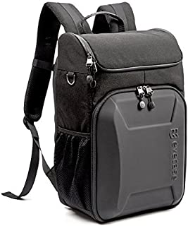 Evecase Shell DSLR Camera / 15.6-inch Laptop Water Resistant Backpack Travel Daypack w/Rain Cover and Inner Bag for Nikon Canon Fujifilm Sony Digital SLR, Mirrorless Camera and More (Black/Black)